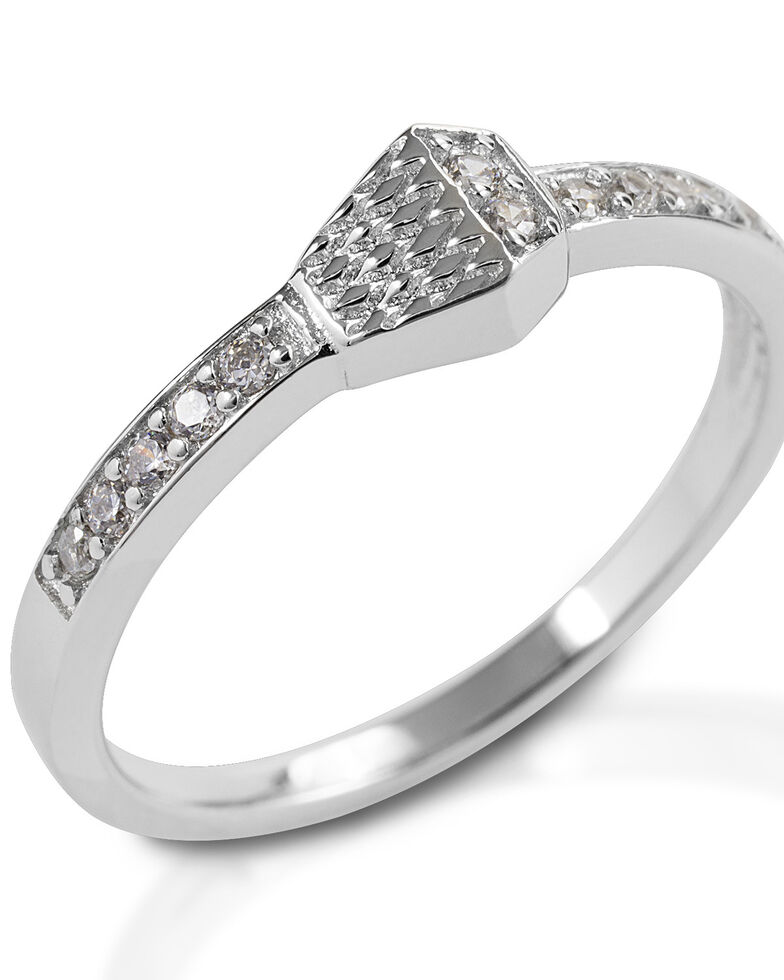 Kelly Herd Women's Pave Horseshoe Nail Ring , Silver, hi-res