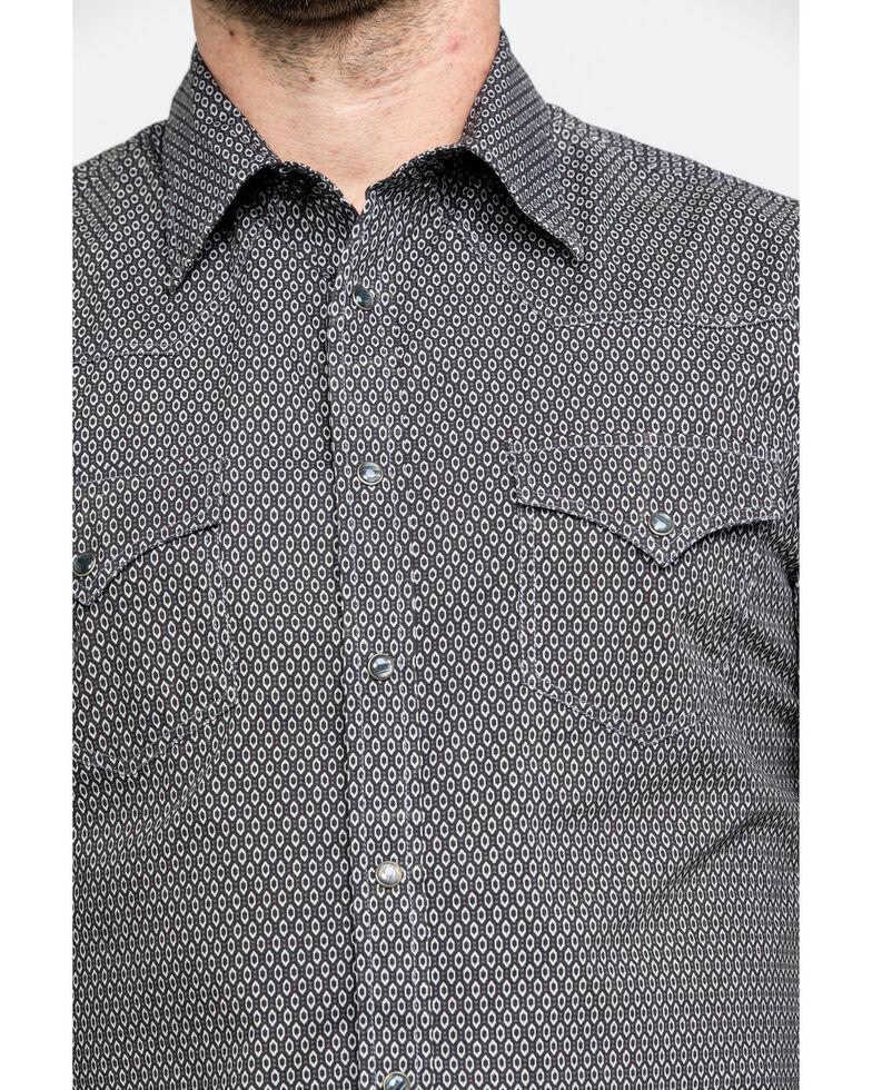 Rock & Roll Denim Men's Brown Washed Poplin Print Long Sleeve Western Shirt , Brown, hi-res