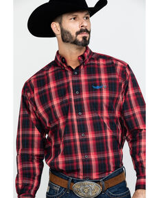 Ariat Men's Fireball Ombre Plaid Long Sleeve Western Shirt , Red, hi-res