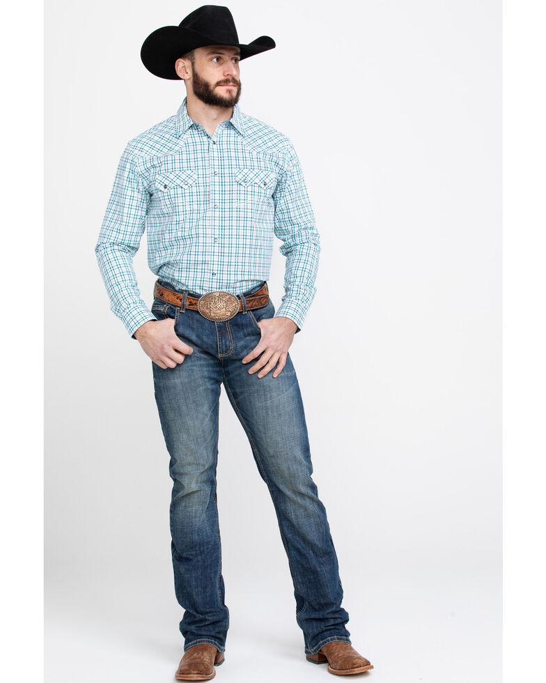 Cody James Men's Grand City Small Plaid Long Sleeve Western Shirt , Turquoise, hi-res