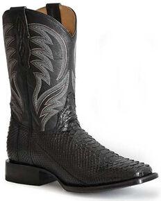 Roper Men's Peyton Exotic Python Skin Western Boots - Square Toe, Black, hi-res