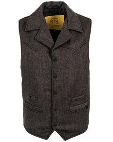 STS Ranchwear Men's Black Wool Gambler Vest , Black, hi-res
