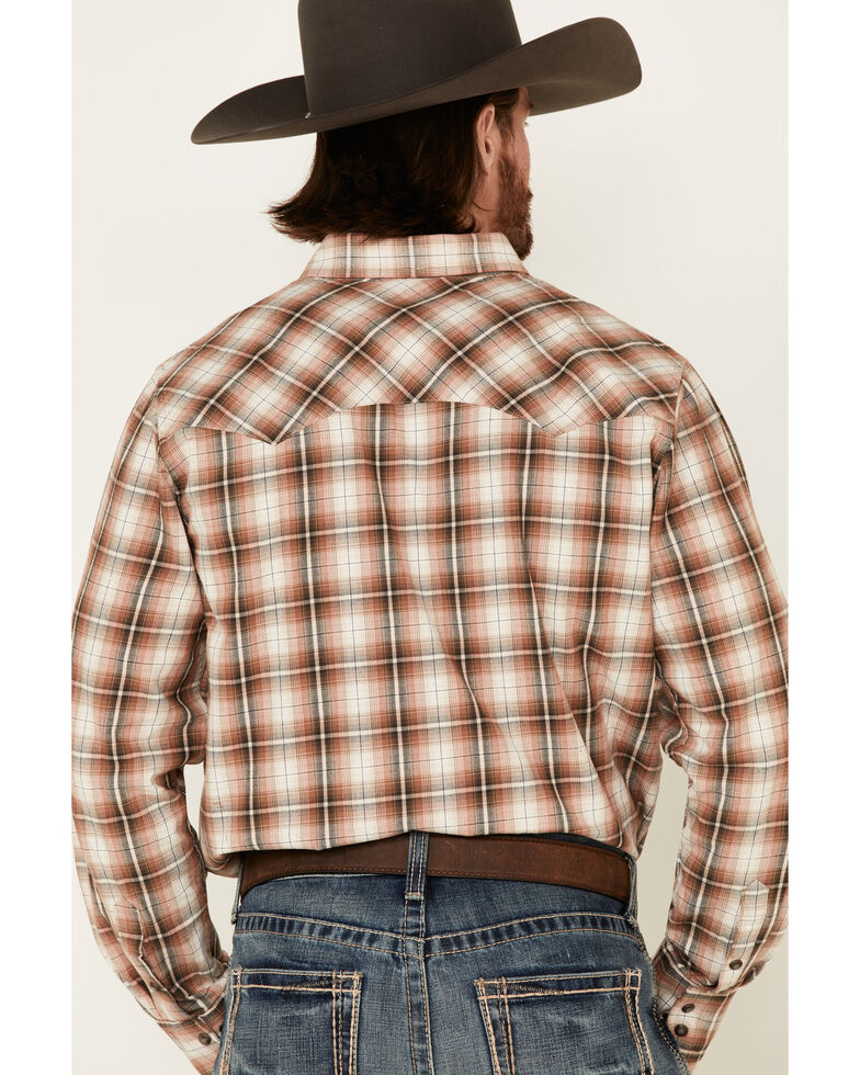 Outback Trading Co. Men's Brown Logan Performance Plaid Long Sleeve Western Flannel Shirt, Brown, hi-res