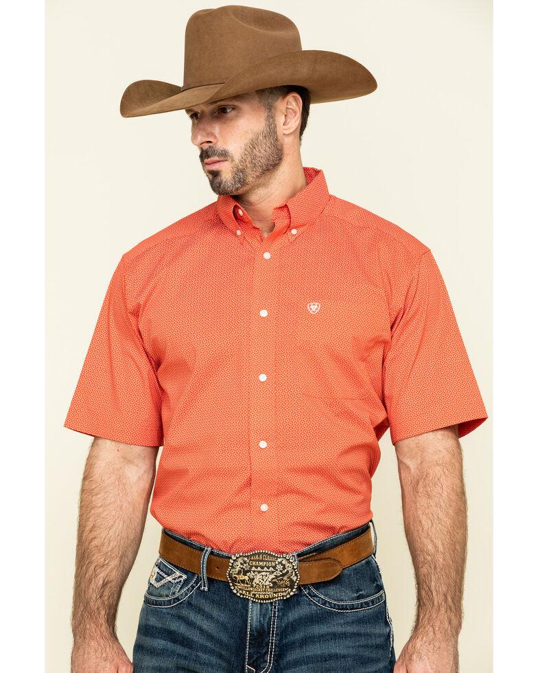 Ariat Men's Orange Gatewood Stretch Geo Print Short Sleeve Western Shirt , Orange, hi-res