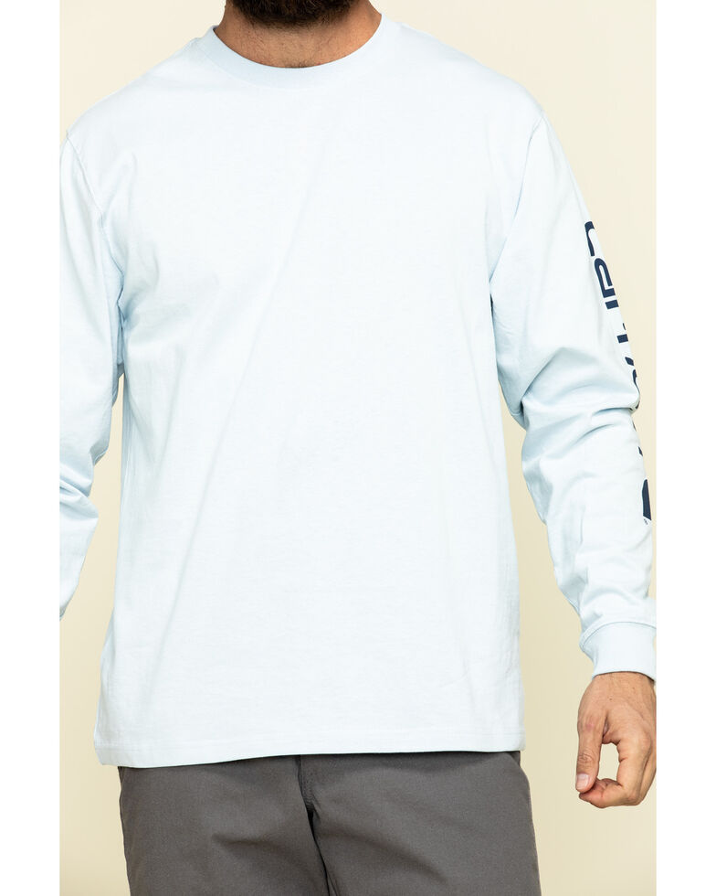 Carhartt Men's Blue Signature Sleeve Logo Long Sleeve Work T-Shirt - Big , Blue, hi-res