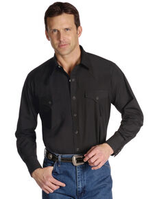 Ely Walker Men's Solid Long Sleeve Western Shirt, Black, hi-res