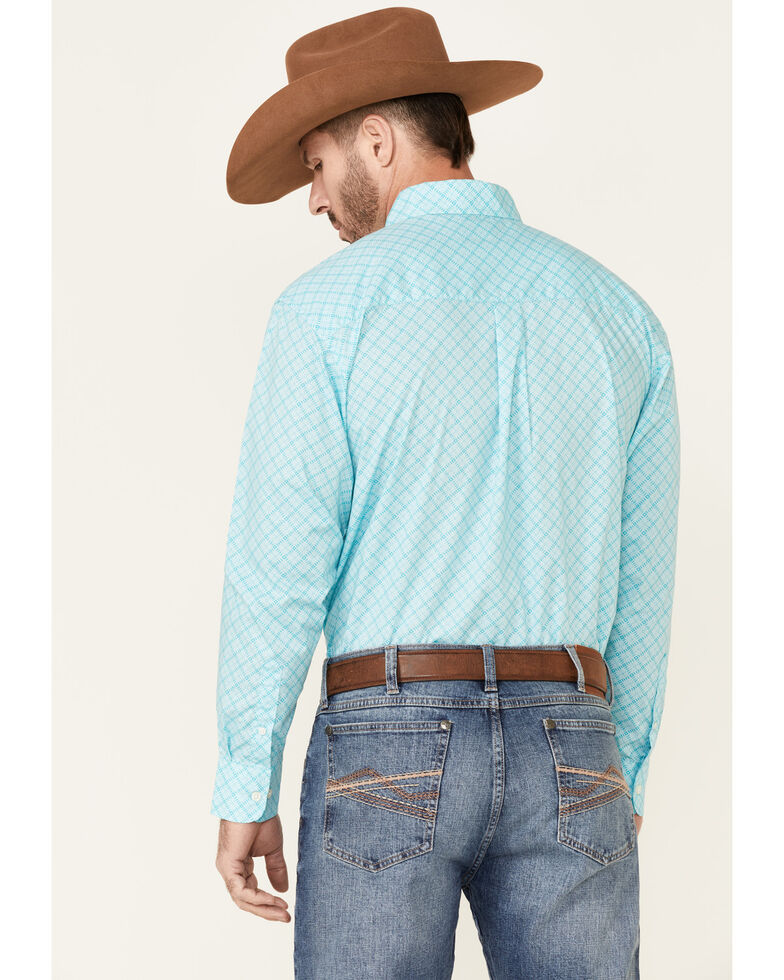 Wrangler Men's Classic Turquoise Geo Print Long Sleeve Button-Down Western Shirt - Tall , Turquoise, hi-res