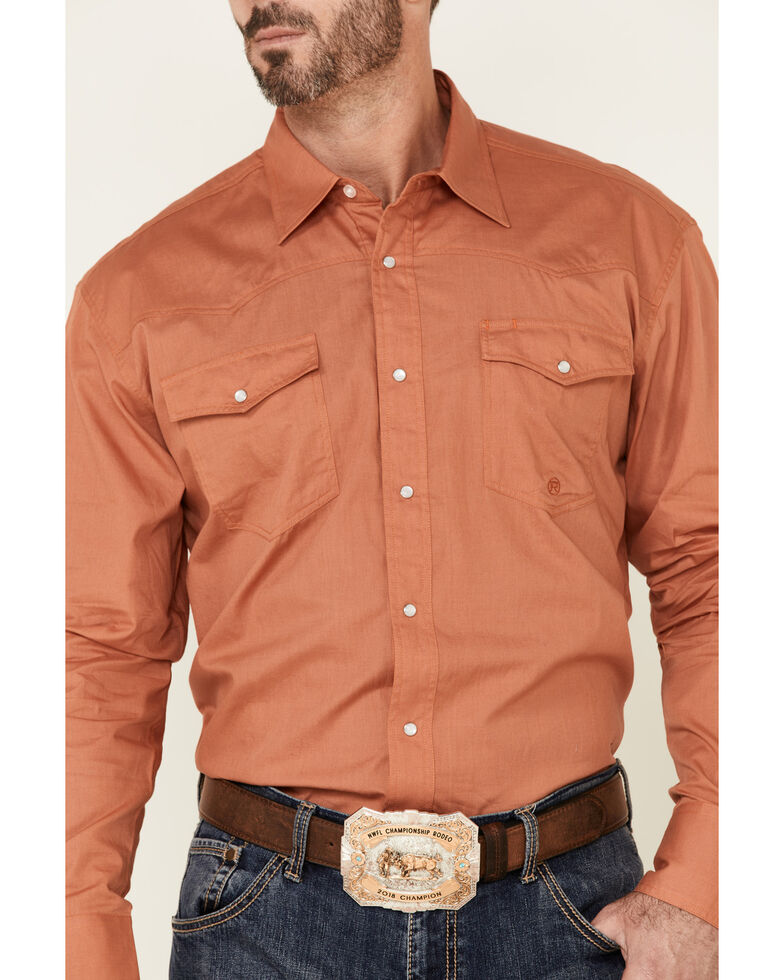 Amarillo Men's Copper Ridge Solid Orange Long Sleeve Snap Western Shirt , Orange, hi-res