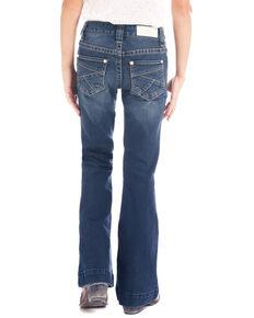 Rock & Roll Cowgirl Girls' Extra Stretch Dark Wash Trouser, Blue, hi-res