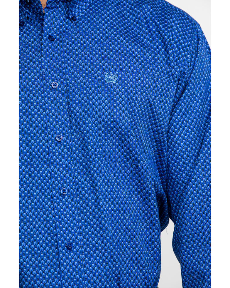 Cinch Men's Royal Blue Diamond Geo Print Long Sleeve Western Shirt , Royal Blue, hi-res