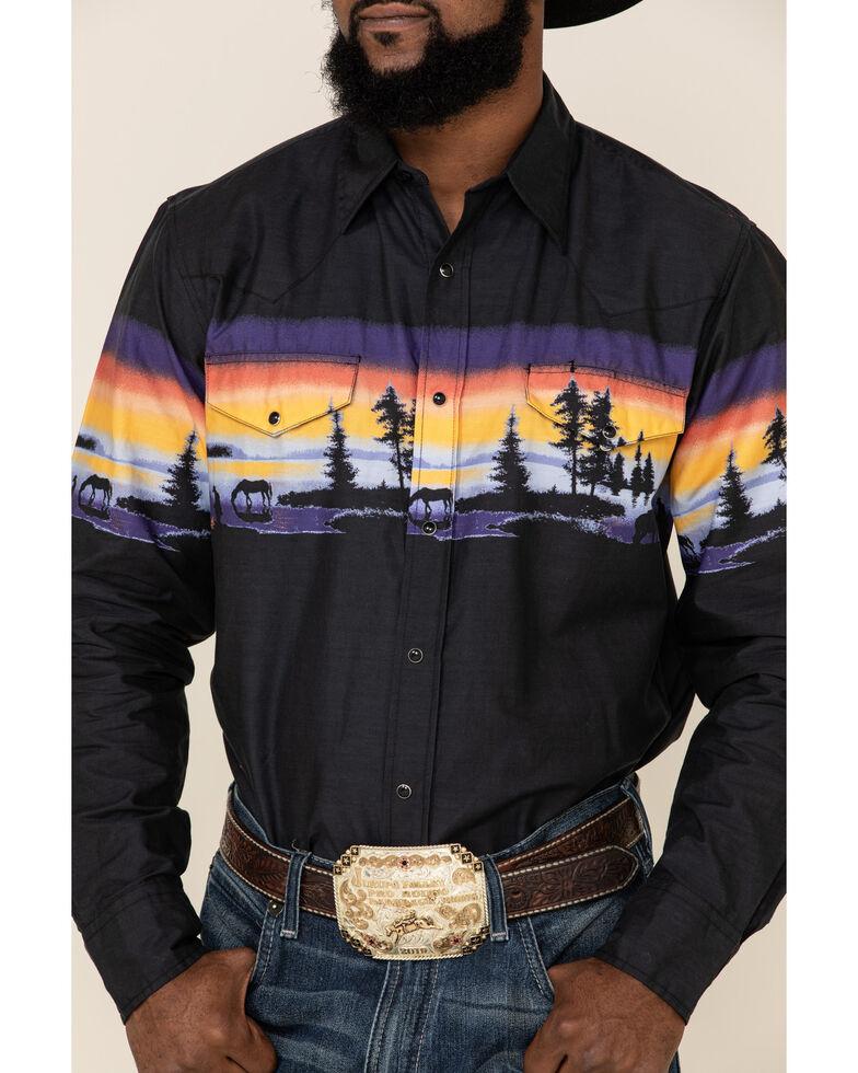 Roper Men's Black Vintage Sunset Border Print Long Sleeve Western Shirt , Blue, hi-res