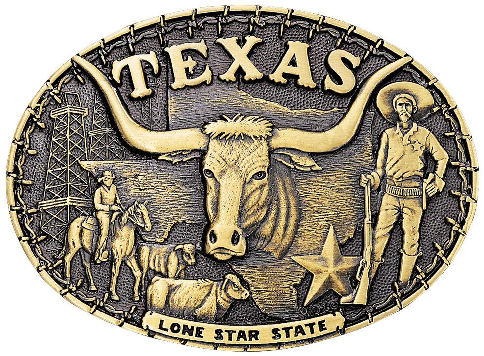 Montana Silversmiths Texas Cowboys State Heritage Attitude Belt Buckle, Gold, hi-res