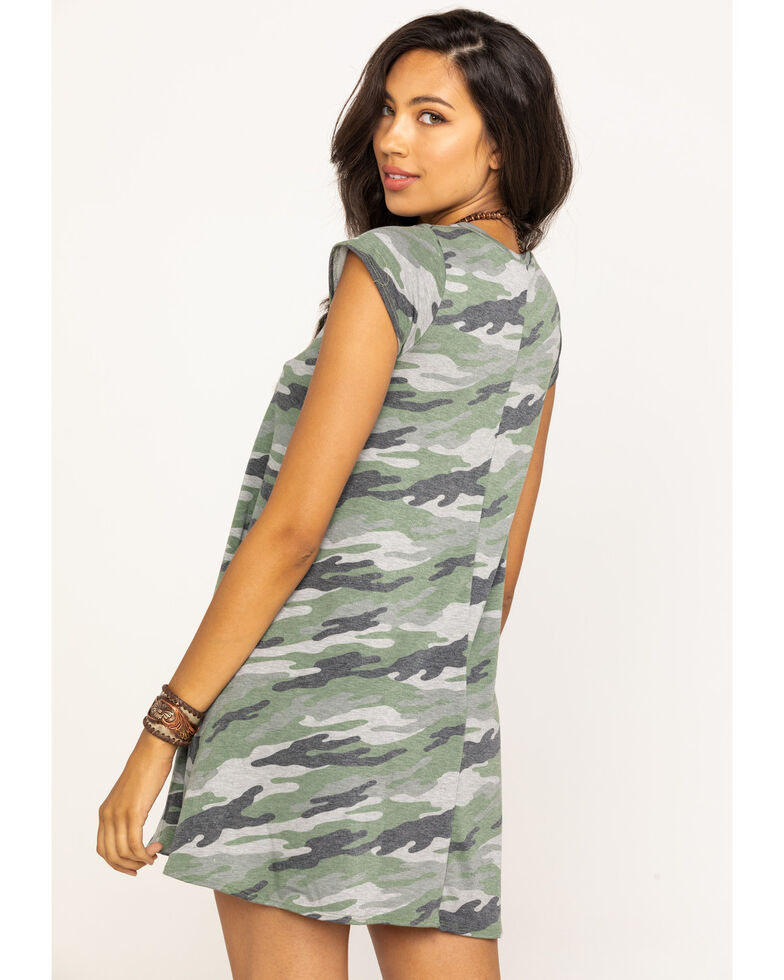 Elan Women's Camo Short Sleeve Swing Dress, Camouflage, hi-res