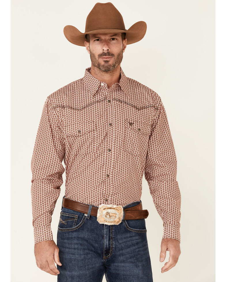 Cowboy Hardware Men's Orange Diamond Geo Print Long Sleeve Snap Western Shirt , Multi, hi-res