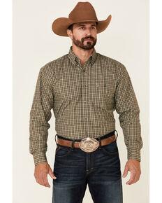 George Strait By Wrangler Men's Tan Small Plaid Long Sleeve Button-Down Western Shirt , Beige/khaki, hi-res