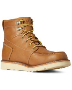 Ariat Men's Gold Oat Full-Grain Recon Lace Casual Wedge Boot - Moc Toe , Brown, hi-res