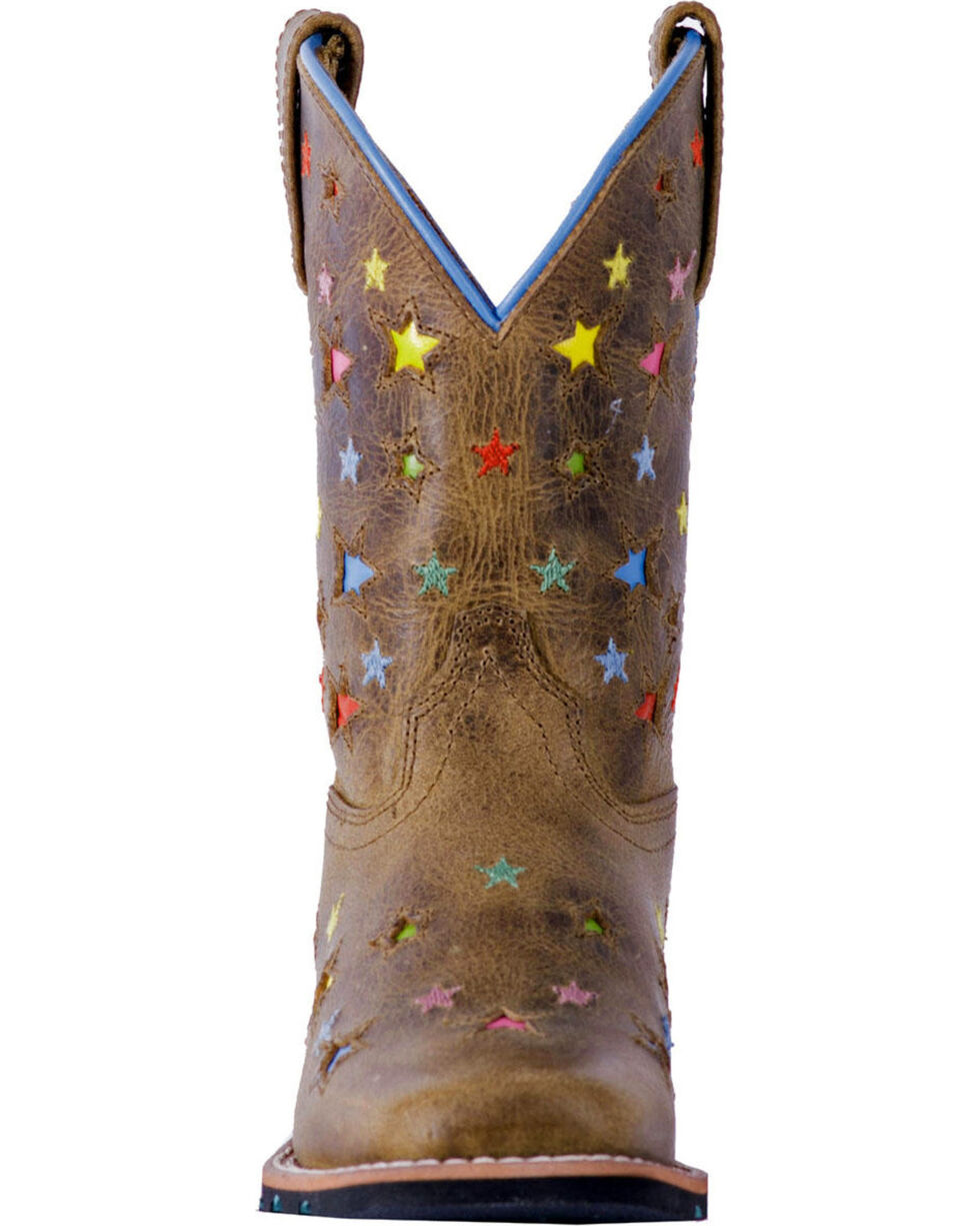 Dan Post Youth Girls' Brown Starlett Leather Boots - Square Toe , Brown, hi-res