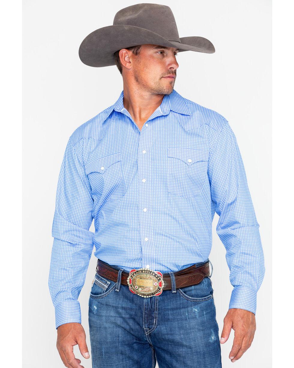 Panhandle Men's Rough Stock Granville Vintage Geo Print Long Sleeve Shirt , Blue, hi-res