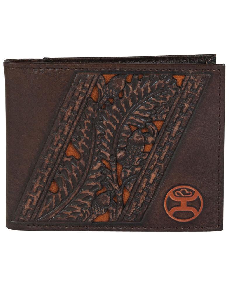 HOOey Men's Rustic Mahogany Brown With Tooling BI-Fold Wallet, Brown, hi-res