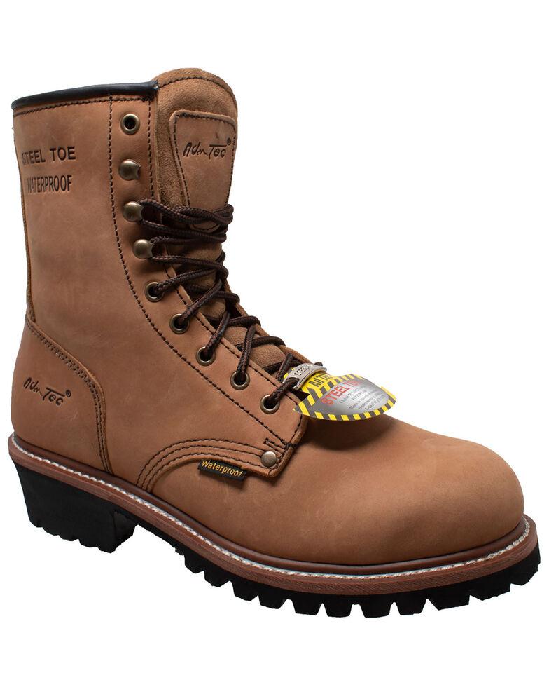 "Ad Tec Men's 9"" Waterproof Logger Work Boots - Steel Toe, Brown, hi-res"