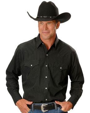 Ely Cattleman Men's E6 Tone Solid Long Sleeve Western Shirt , Black, hi-res