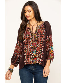 Johnny Was Women's Espresso Talline Tie Back Blouse, Brown, hi-res