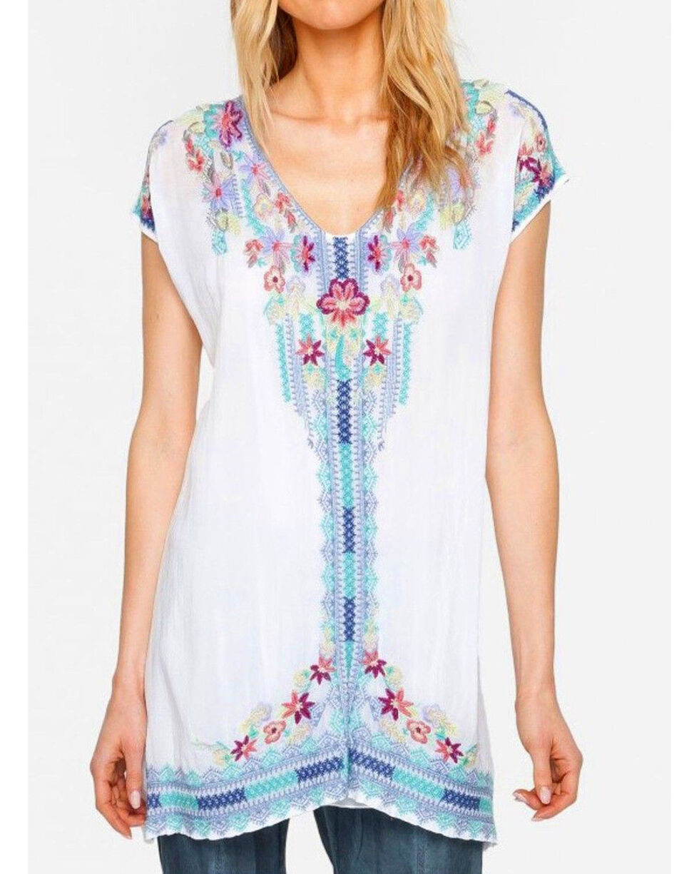 Johnny Was Women's Yassi Tunic , White, hi-res