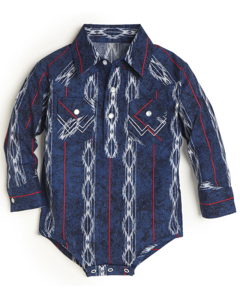 Wrangler Infant Boys' Navy Aztec Striped Long Sleeve Bodyshirt , Navy, hi-res