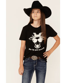 Ali Dee Girls' Grey Not In The Moood Cow Short Sleeve Shirt , Black, hi-res