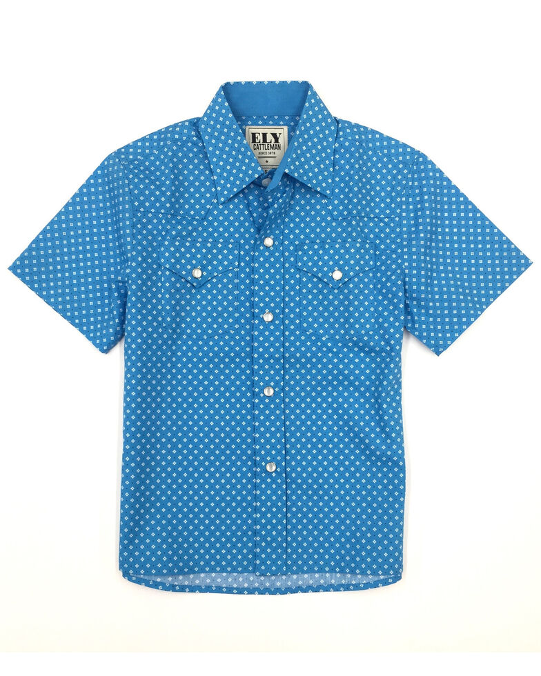 Ely Cattleman Boys' Assorted Geo Print Snap Short Sleeve Western Shirt , Turquoise, hi-res