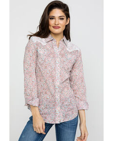 Wrangler Women's Paisley Lace Western Shirt, Sage, hi-res