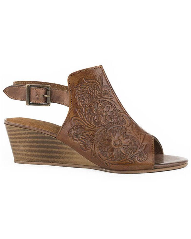 Roper Women's Burnish Floral Tooled Leather Sandals, , hi-res