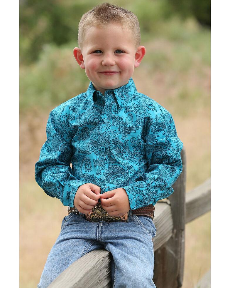 Cinch Infant Boys' Teal Paisley Print Button Long Sleeve Western Shirt , Teal, hi-res