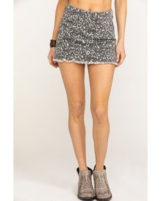 Ocean Drive Women's Grey Leopard Denim Frayed Mini Skirt , Leopard, hi-res