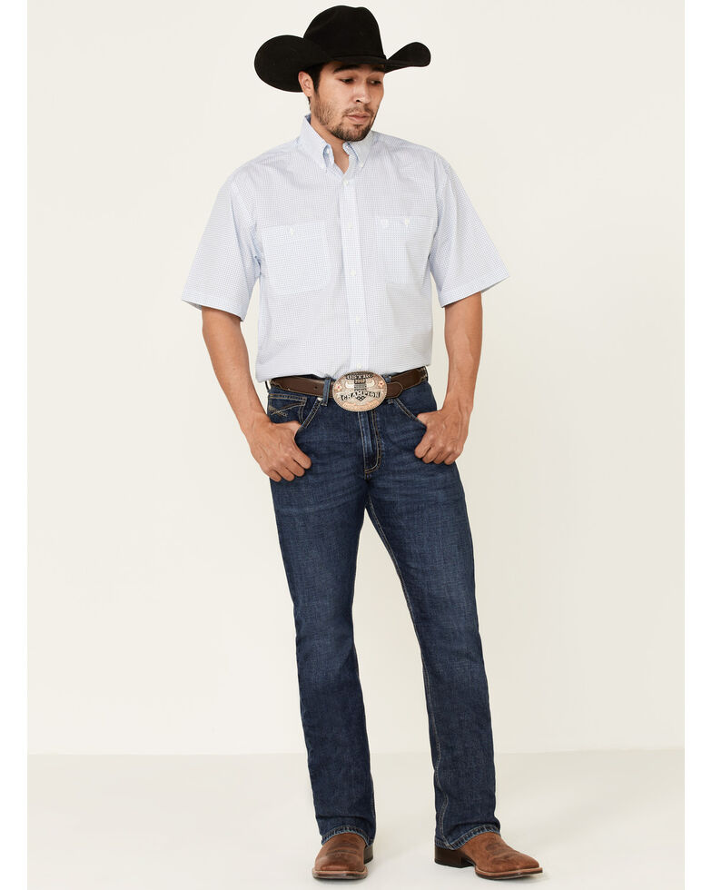 George Strait By Wrangler Men's White Small Geo Print Long Sleeve Western Shirt , White, hi-res