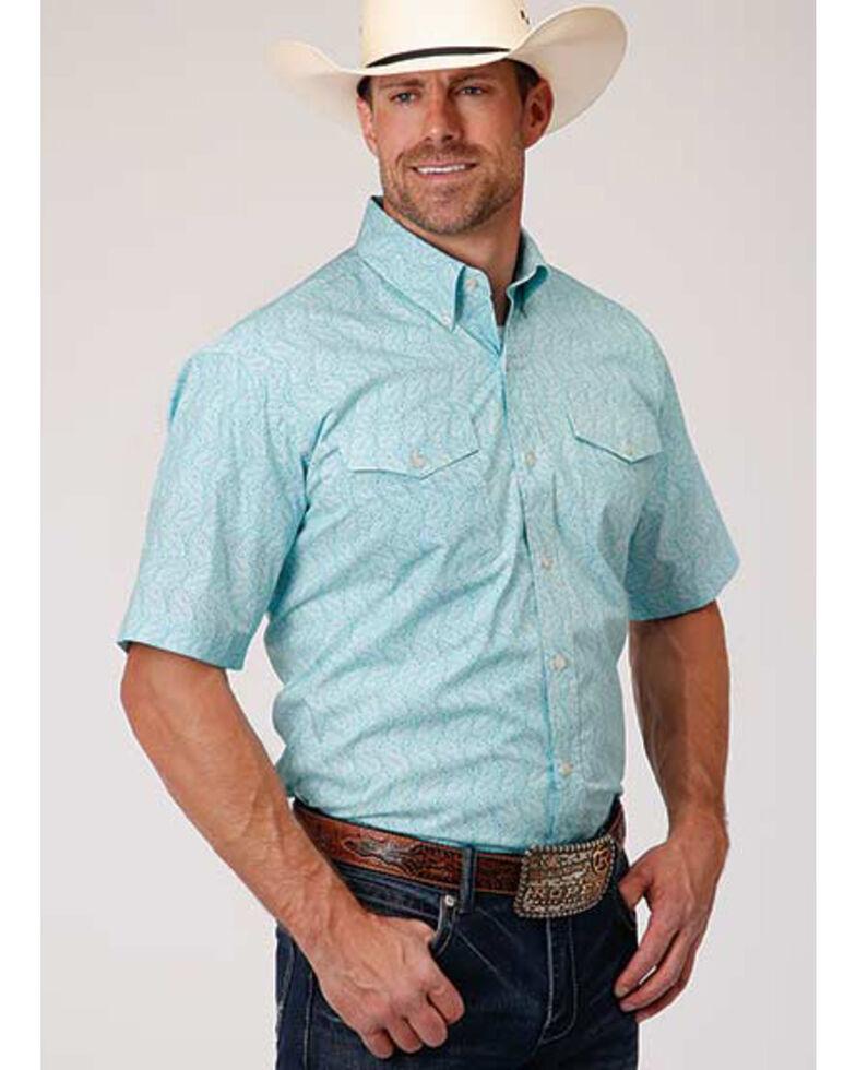 Roper Amarillo Men's Nested Paisley Print Short Sleeve Western Shirt , Blue, hi-res