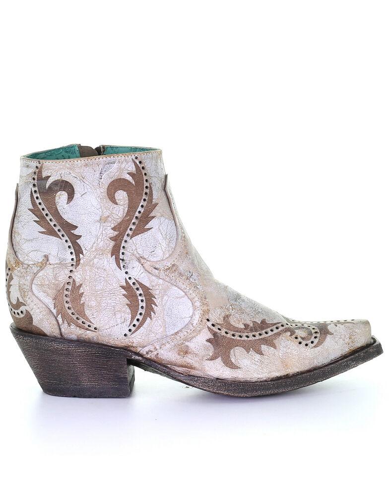 Corral Women's Lazer Ankle Fashion Booties - Snip Toe, White, hi-res