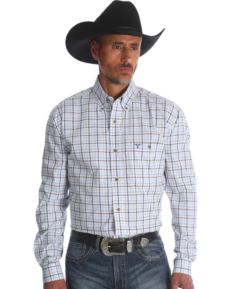 Wrangler 20X Men's Blue Small Plaid Advanced Comfort Competition Long Sleeve Western Shirt , Blue, hi-res