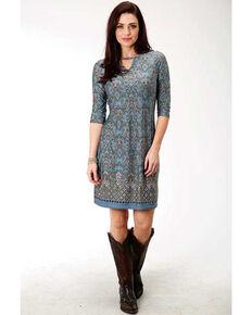 Studio West Women's Border Print Shift Dress, Blue, hi-res