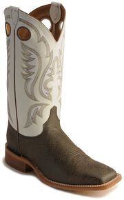 Justin Bent Rail Cowboy Boots - Square Toe, Chocolate, hi-res