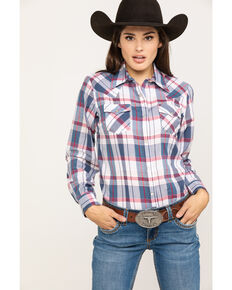 Wrangler Women's Red White & Blue Lurex Plaid Long Sleeve Western Shirt, Red/white/blue, hi-res