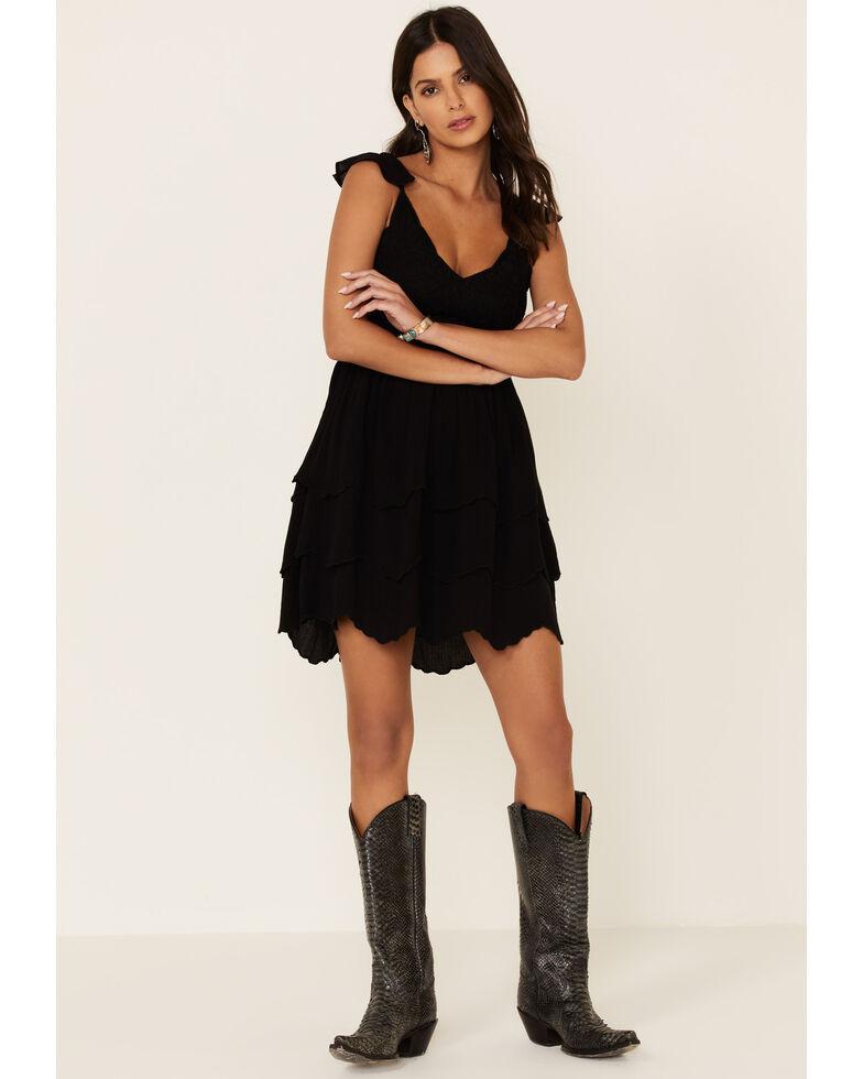 Shyanne Women's Embroidered Bodice Dress, Black, hi-res