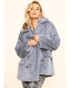 Free People Women's Wine Kate Faux Fur Coat, Slate, hi-res