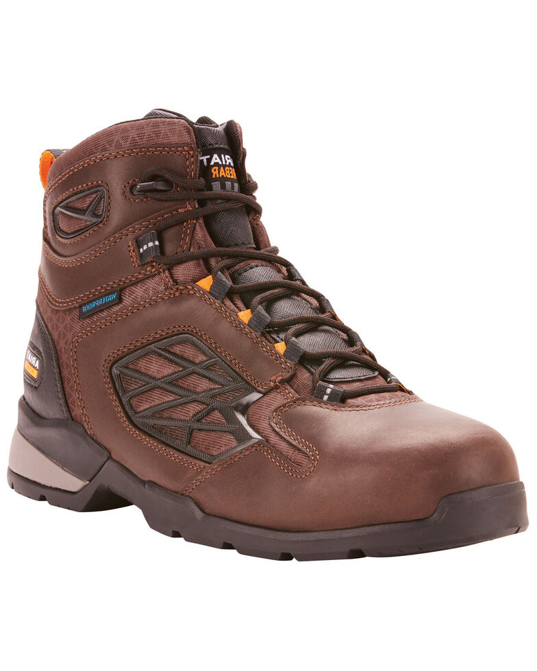 Ariat Men's Rebar Flex Waterproof Work Boots - Composite Toe, Dark Brown, hi-res