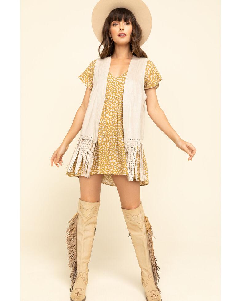 Vocal Women's Studded Fringe Vest , Sand, hi-res
