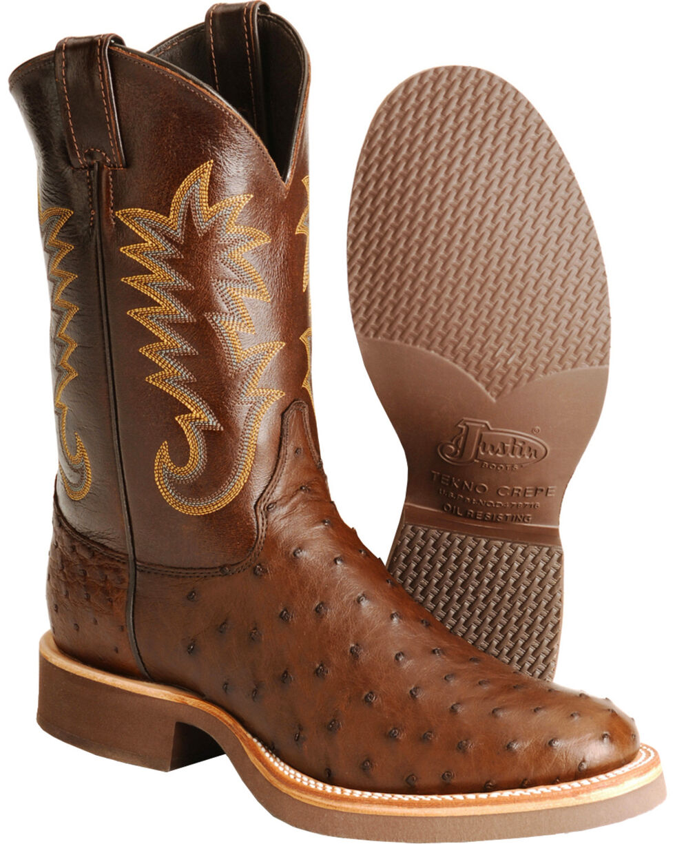 Justin Full Quill Ostrich Cowboy Boots - Round Toe, Brown, hi-res