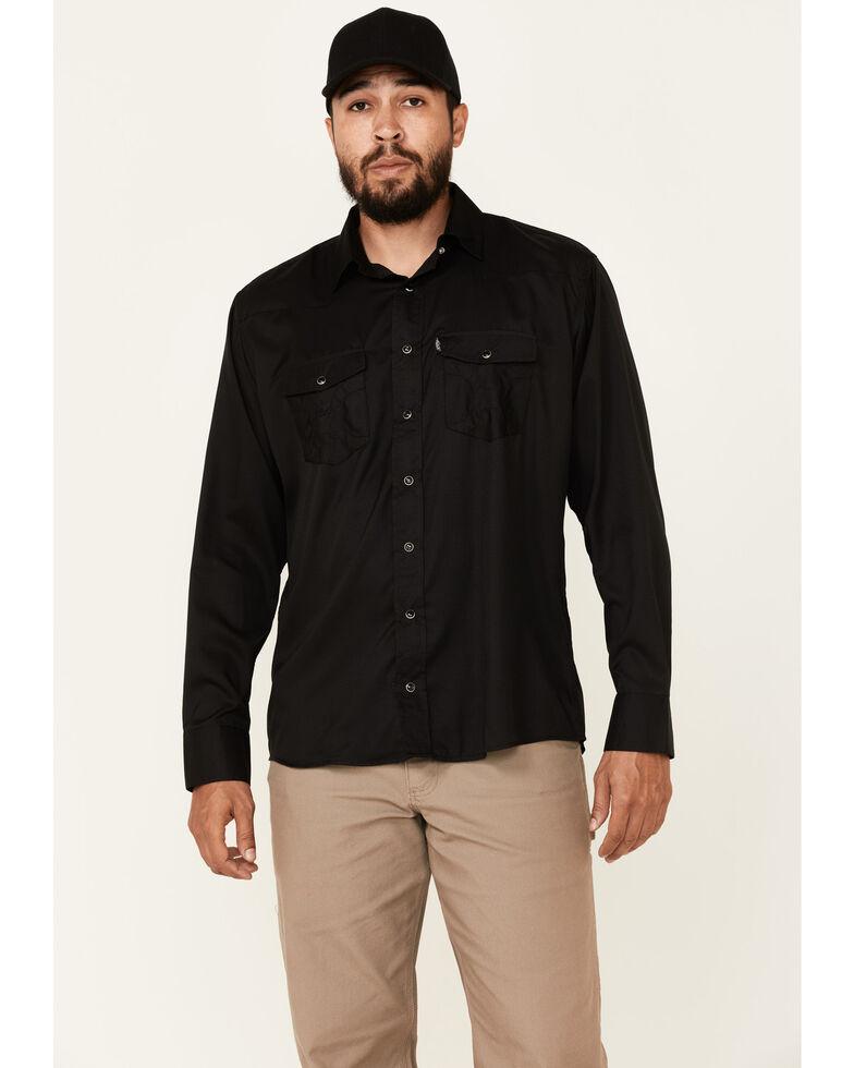 HOOey Men's Solid Black Habitat Sol Long Sleeve Snap Western Shirt , Black, hi-res