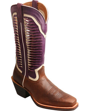 "Twisted X Women's 12"" Ruff Stock Vented Shaft Cowgirl Boots - Square Toe, Brown, hi-res"