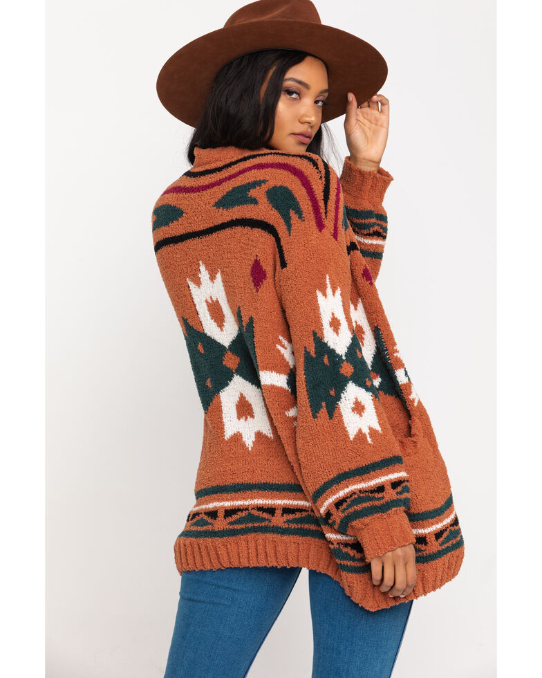 Very J Women's Cream Aztec Cardigan , Camel, hi-res