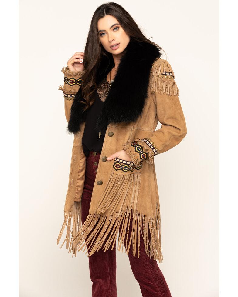 Double D Ranch Women's Tumbleweed Blackfeather's Blanket Jacket, Tan, hi-res